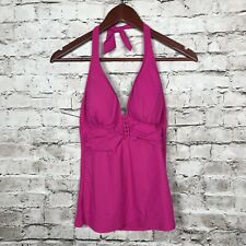 Profile By Gottex 12 Tankini Halter Top Pink Padded Ruched Cruise Pool Beach