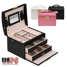 Leather Jewelry Box Organize Case 3-Layer Display Box Mirror Lock for Women Girl