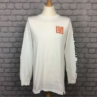 HUF MENS L INTERNATIONAL BLOCK WHITE LONG SLEEVE T-SHIRT COTTON TEE CS