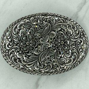 Nocona Silver Tone Flower Floral Rhinestone Western Bling Belt Buckle