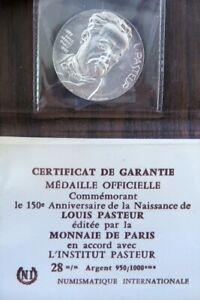 0277 - MÉDAILLE 150è ANNIV. NAISSANCE LOUIS PASTEUR - 1972 - JM Coeffin - argent
