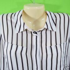 White House Black Market WHBM Size 10 Black White Peach Striped Blouse Top