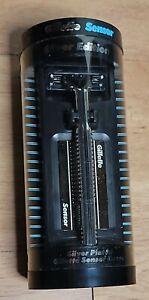 Vintage Gillette Sensor Silver Edition Silver Plated Cartridge Razor Set 1980's