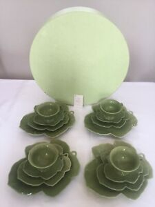 GLOBAL VIEWS MID CENTURY MODERN STYLE LADIES LEAF LUNCHEON DISH SET OF 4 ~ 16 PC