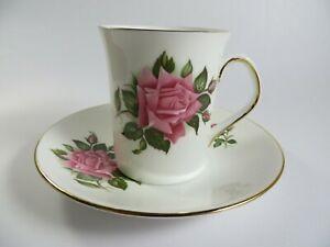 Elizabethan England Cup and Saucer with Pink Rose and Gold Trim  Excellent Cond