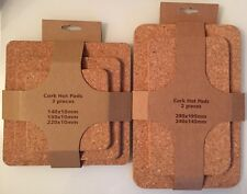 Cork Hot Pads - 5 Pieces/2 Pack - Rectangle/Square - Various Sizes - Brand New