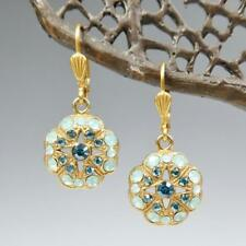 Catherine Popesco 14K GP Crystals Floral Earrings Star Center Pacific Opal