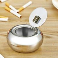 Drum Shape Windproof Ashtray Stainless Steel Cigarette with Ash Tray lid OO
