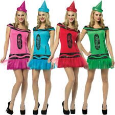 CRAYOLA CRAYON FANCY DRESS COSTUME WOMENS GROUP OUTFIT LADIES UK 8-12 OFFICIAL