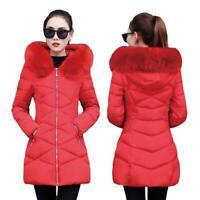Hüftlang Baumwolljacke Damen Pelzkragen Kapuze Korea Schlank Steppjacke Winter D