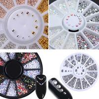 4 Boxen Nagel Studs Beads Kunst Dekoration Design Resin Farbig 3D Schimmer