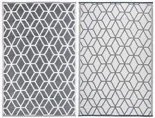 Esschert Design Outdoor Rug Graphics 180x121cm Grey and White Blanket Oc25