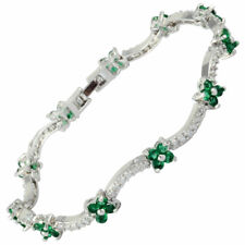 Clear Flower 18K White Gold Gp Round CZ Zirconia Green Emerald Tennis Bracelet