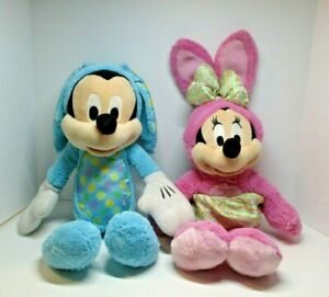 """Disney Mickey and Minnie Mouse Plush Dolls in Cute Easter Bunny Costumes 18"""""""