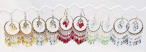 CC GOLD BLUE RED GREEN CRYSTAL CHANDELIER ACRYLIC HOOK EARRINGS SILVER GOLD NEW