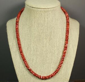 """Red Spiny Oyster Beads 18"""" Necklace Sterling Silver"""