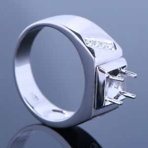 Gift Sterling Silver Semi Mount Real Diamond Engagement Ring 6-7mm Round Setting