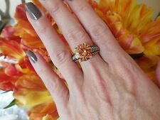 """NEW """"designer inspired"""" Round Amber Topaz CZ Ring Cable shank size 9"""