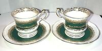 Queen's Fine Bone China Marquis 2 Demitasse Cup Saucer Set Green Gold England