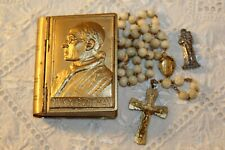 More details for vintage c.1930s pope pius xii rosary box/ keepsake shaped like book (gold tone)