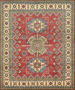 Geometric Kazak 8'x10' Red Wool Hand-Knotted Oriental Rug