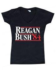 REAGAN BUSH`84 political election WOMAN V-NECK funny 80's retro Republican tee
