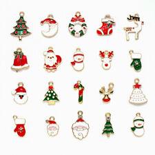 4 Christmas Snowflake Charms Gold Plated Green Enamel Red Rhinestone E245