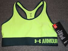 Under Armour Sports bra Green Logo Work Out Yoga NEW NWT $24.99 Mid Impact XS