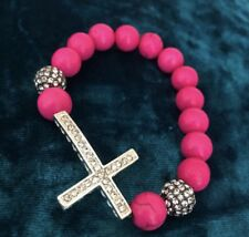 Fashion Crystal Rhinestone Cross Pink Fuschia Beads Bracelet for Women Girl