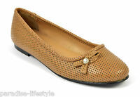 Womens Ladies Summer Flat Heel Shoes Pumps Heels Office Outdoor Leather Size New