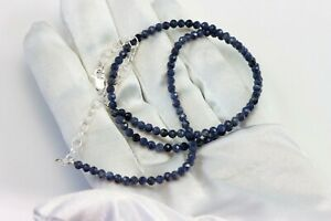 Blue Sapphire Necklace Solid Strand 20 Inch AAA 14k Gold filled Sterling Silver