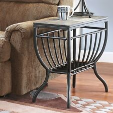 Ashley Signature Design Antigo Chair Side End Table in Slate Top & Black Bottom