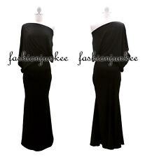 BLACK LONG BOAT Neck DRESS Off the Shoulder Jersey Draped Kimono Sleeve Maxi L