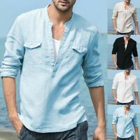 Men's Baggy Cotton Linen Pocket Polo Shirt Solid Long Sleeve Retro T Shirts Tops