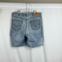 Vintage Levis 550 Mens 42 Relaxed Fit Denim Jean Shorts Red Tab Light Blue Wash