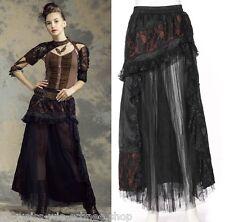 Gothic RQ-BL Steampunk Rock Lolita Skirt Vintage Tüll Satin Spitze Braun SP144