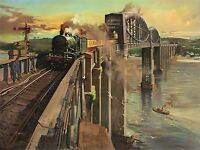 PAINTING ROYAL ALBERT BRIDGE SALTASH BRITISH RAILWAYS ART POSTER PRINT LV2858