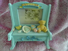 Remembrances Photo Frame Blue Baby Rocking Bench w/Storage Jewelry Trinket