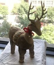 Decorative Christmas Wood & Straw Reindeer