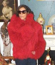 Red Llama Fur Coat in excellent condition.