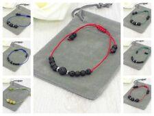 Handmade Natural Lava Stone Adjustable Cord Bracelet & Velvet Pouch