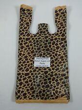 Leopard Print Design Plastic T Shirt Retail Shopping Bags Handles 8 X 5 X 16