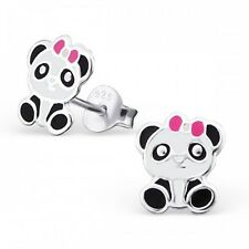 Childrens Girls Sterling Silver Panda with Pink Bow Stud Earrings - Gift Boxed