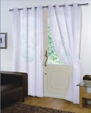 Pair of White 59'' x 48'' Voile Net Eyelet / Ring Top Curtain Panel + Tie Back