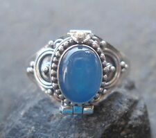 925 Sterling Silver Balinese Poison Locket Ring With Blue Agate Size 9-RL01