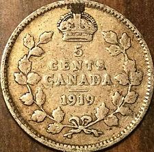 1919 CANADA SILVER 5 CENTS COIN