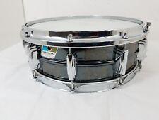 "Vintage Ludwig Engraved Black Beauty 14"" x 5 Snare Drum Blue Olive Badge Diecast"