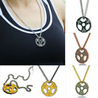 1PC Fitness Gym Barbell Dumbbell Pendant Stainless Steel Chain Necklace Jewelry