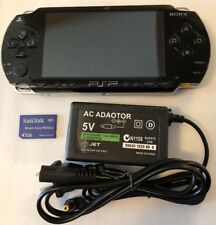 BLACK PSP 1000 1001 System w/ Charger & Memory Card Bundle TESTED (bad WiFi)