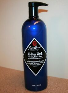 Jack Black All-Over Wash Cleanser for Face, Hair & Body 33 oz 975mL Full Size